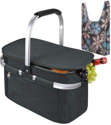 Grote geïsoleerde Picknickmand, 26L lekvrije inklapbare draagbare koelermand met aluminium handvat voor reizen, winkelen, kamperen, bevestigen met een gratis