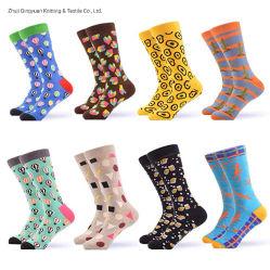 Venda por grosso de algodão personalizada OEM Design de Moda Mens colorido engraçado feliz vestir meias