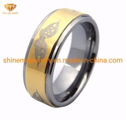 Shineme Jewelry High Quality Gold Plating Laser Tungsten Ring (TSTG002)