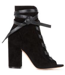 Shoesビロードのイタリア様式のVampの黒いPeep-Toeブートのハンドメイドの女性