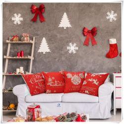 """Noël rouge thème Noël coussin décoratif carrés oreiller 18""""X18"""""""