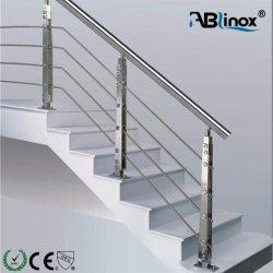 Balkon-Edelstahl-Geländer-Entwurfs-Baumaterial-Glas-und Rohr-Geländer-System