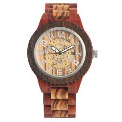 Oem Custom Logo Digital Luminous Mens Automatic Mechanical Wooden Watch