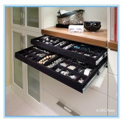 A cor preta grande capacidade de joalharia de veludo suporte de bandeja para gaveta, closet, Turismo, brincos, Ring - Armazenamento de colar caso do Organizador