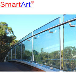Frameless Glasbalustraden mit Glaszapfen-Quadrat-Handlauf