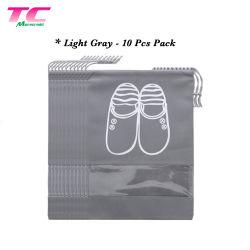 Motif imprimé personnalisé Chaussures non tissé coulisse Shoe Sacs de voyage, commerce de gros sac de rangement de la poussière de chaussures avec fenêtre claire