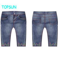 Los niños azul suave cintura elástica niñas niños pantalones vaqueros pantalones vaqueros