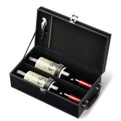 Luxe en cuir noir personnalisé PU Vin élégant boîte rectangulaire
