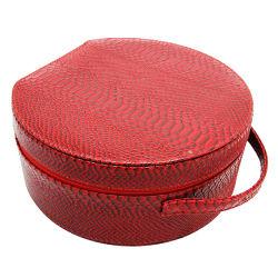 高品質の方法赤いPUの革円形の宝石類のギフト用の箱