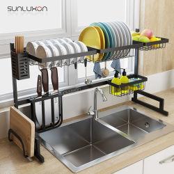 85cm plat de cuisine Rack séchage métalliques Stand Hanger de filtre à drainer l'étagère noire sur étagère de rangement du dissipateur