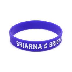 Logo promotionnel bracelet en silicone noir gravé Bracelet en silicone avec du charme bracelet en silicone gravé rempli de couleur