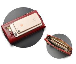 Большая емкость кожаный кошелек мобильному телефону Mobilephone муфты Wallet сумка