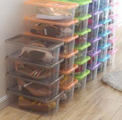Frauen-Schuh-Ablagekästen, faltbarer stapelbarer Schuh-Plastikvorratsbehälter, Wandschrank-Regal-Schuh-Organisator