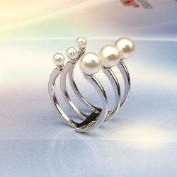 Novo Design de jóias de 925 Sterling Silver Anel pérola de água doce para as mulheres