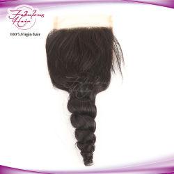 إغلاق الشعر الماليزي رخيصة اغلاق الشعر البشرية 4*4 واغلاق لace Wave