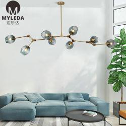 現代簡単な様式の喫茶店の芸術の装飾の中断鉄ガラスLEDのペンダント灯