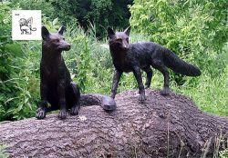 Las ventas Life-Size Jardín vivo Fox estatua de bronce par Animal Escultura Basg-37