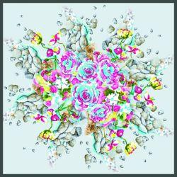 Ambos lados Print Floral personalizado de diseño de moda Pañuelo de seda