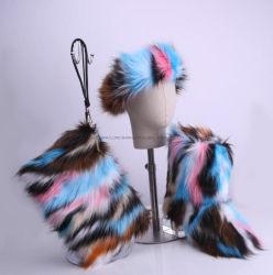 La mujer verdadera Faux Fur mullidas Matching Bolso Set de Diadema Furry botas de nieve