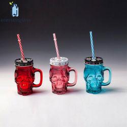 Frascos de cráneo Calavera de Cristal Mason Jar jarra de vidrio con asa y tapa de la paja