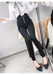 Nouveau design Fashion Grament occasionnel Penic fermeture à glissière avant noir Pantalon avec ceinture pour dames