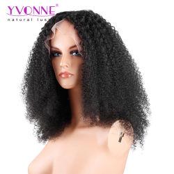 Afro-brasileña de encaje rizado peluca de pelo humano frente a las mujeres