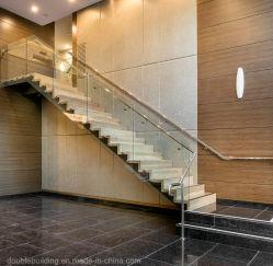 Ziguezague moderna residencial escada reta Bitola Fechado escadas com Corrimão de vidro