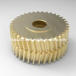 Cylindrique en laiton Double pignon à denture hélicoïdale, double engrenage à roue
