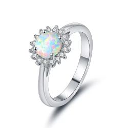 Mode Bijoux Bagues en argent d'Opale Bleue avec CZ Designs pour la fille