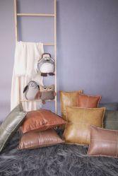 El lujo de cuero artificial cojines almohadas de poliéster