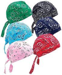 Оптовая торговля 6 различных конструкций крышки черепа пэйсли хлопка Bandanna Дрсуга Biker Skull Red Hat крышки