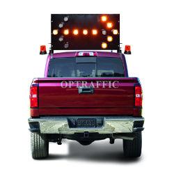 Großhandelspreis-schwarzes Puder beschichtete das Automobil, das bernsteinfarbiger LED-Zeichen-LKW eingehangene bewegliche warnende Pfeil-Zeichen verdunkelt
