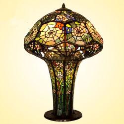 Handmade Cobweb Conception vitrail Tiffany lampe de table avec la base en laiton