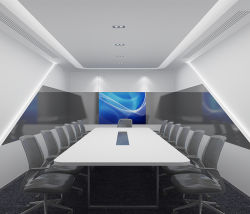 Роскошный белый Corian Мраморный зал заседаний в таблице с разъемами