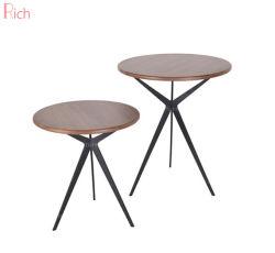 MDF 커피 테이블 둥근 테이블 측면 테이블(금속 베이스 및 목재 베니어 포함