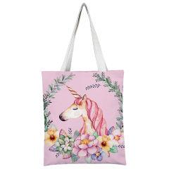 Kundenspezifische Schulter-Baumwolleinkaufen-Form-Handtaschen des Drucken-Einhorn-fördernde Geschenk-eins