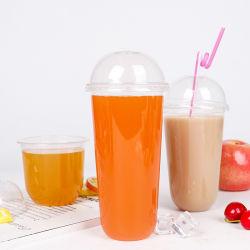 Haut matériau transparent PP/PS froid jetables de boire des verres en plastique avec couvercles et les pailles