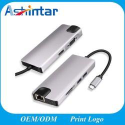 El adaptador multipuerto USB 8 en 1 3.1 Tipo C HUB USB a HDMI 4K Pd RJ45 Lector de tarjetas SD TF