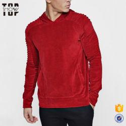 I nuovi prodotti comerciano il velluto all'ingrosso Hoodie del manicotto di Raglan del Mens nel colore rosso