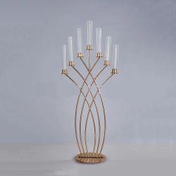 Arm-Metallkerze-Halter-AusgangsDeco Hochzeits-Tisch-Mittelstück-Acrylglas-Kerze-Halter-Kerzenhalter-Halter des Gold7