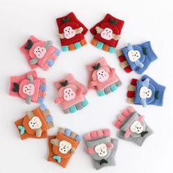 Winter warme Halbfinger Strickhandschuhe Tierhandschuhe für Kinder Baby