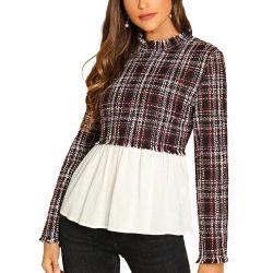 Großhandelsfrauen-Oberseite-und Blusen-Weinlese-Blusen-Frauen-Tweed-Bluse