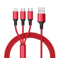 هدية ترويجية لكبل USB 3 في 1 عالي الجودة كابل شاحن USB مجدول من النايلون بنظام Android Micro/من النوع C USB سريع الشحن قم بمزامنة سلك كابل البيانات