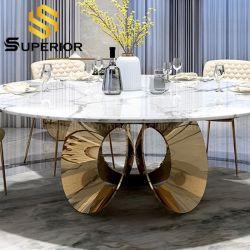 Dubai-königlicher Goldlautsprecher-niedriges speisendes Stuhl-Tisch-Set