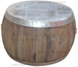 قطع أثاث صناعية متعددة الوظائف معتّقة قديمة من الألومنيوم الطبيعي تمت إعادة تصنيع قطع خشب الدردار طاولة قهوة مطهوة بالخشب