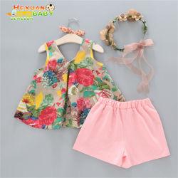 السروال القصير زهرة يضع الأطفال الصيف لكني الأطفال ملابس الأطفال الصغار يضع سحب ملابس الأطفال