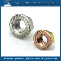 DIN6923炭素鋼の十六進フランジのナット