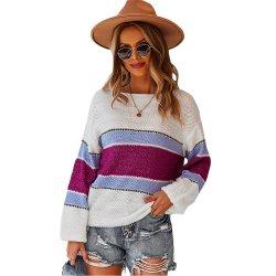 핫 셀링 화이트 컬러블록 긴팔 여성용 따뜻한 스웨터