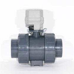 DN50 2インチ2の方法プラスチックコネクター12V DC電気作動させたPVC UPVC CPVC Pph本当連合によってモーターを備えられる球弁