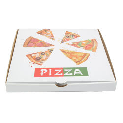 Пицца пользовательских печатных упаковочные коробки гофрированной бумаги в салоне при работе дома